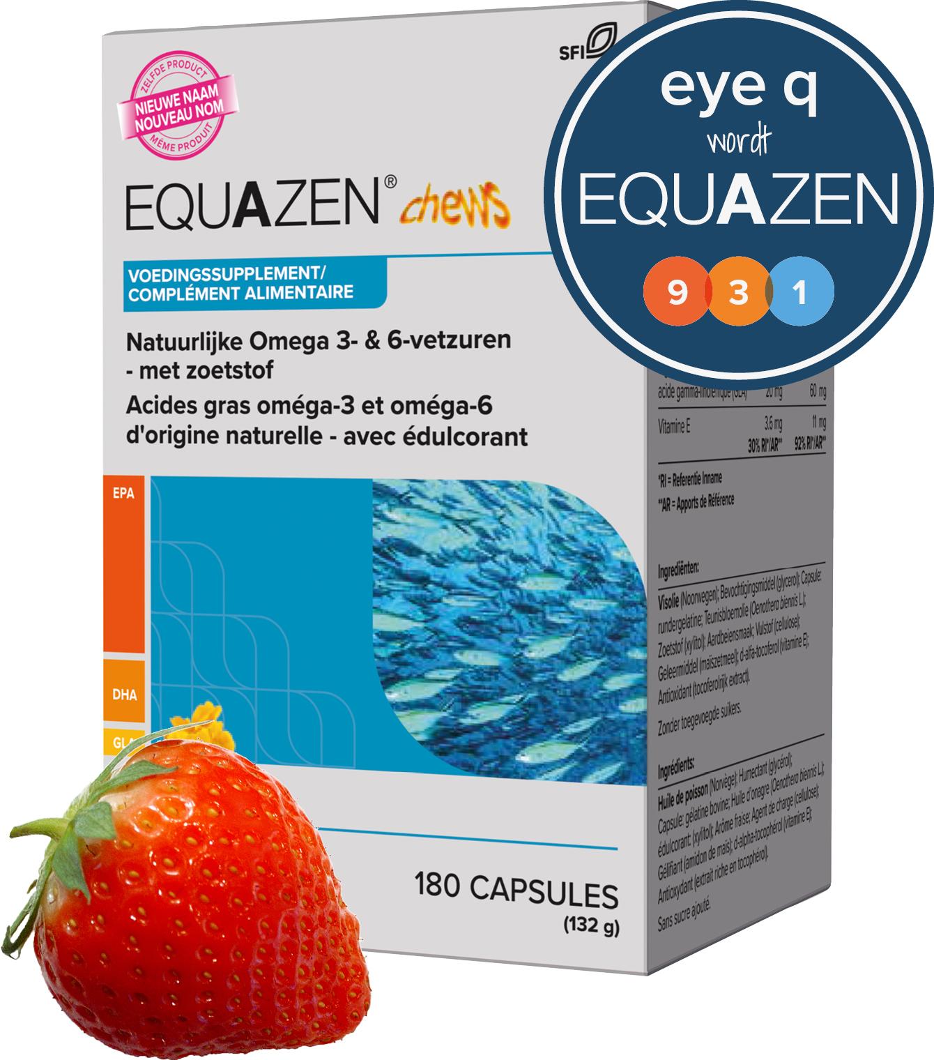 Equazen Chews kauwcapsules met aardbeiensmaak - omega 3- en 6-vetzuren EPA, DHA, GLA - Eye Q wordt Equazen