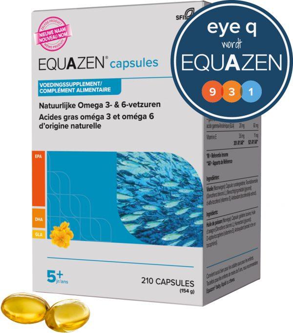 Equazen capsules 210 - omega 3- en 6-vetzuren EPA, DHA, GLA - Eye Q wordt Equazen