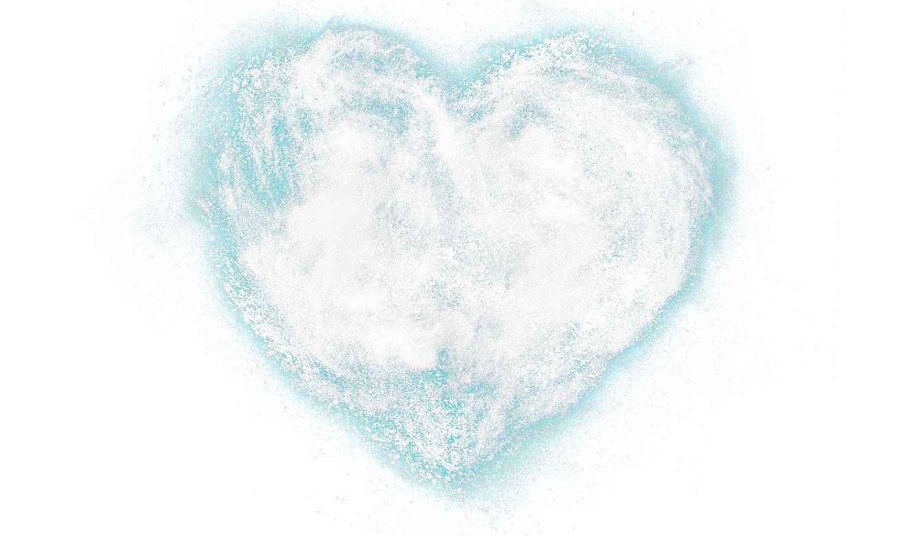 Magnesiumpoeder in hartvorm