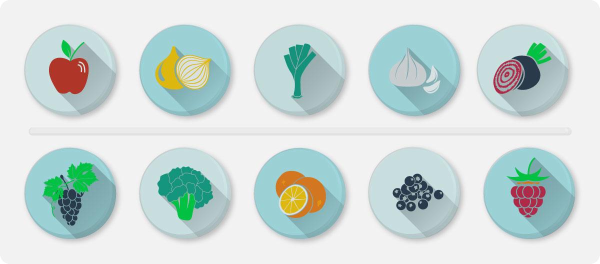 Quercetine komt voor in appel, ui, knoflook, rode kool, broccoli, citrusvruchten, druiven en frambozen.
