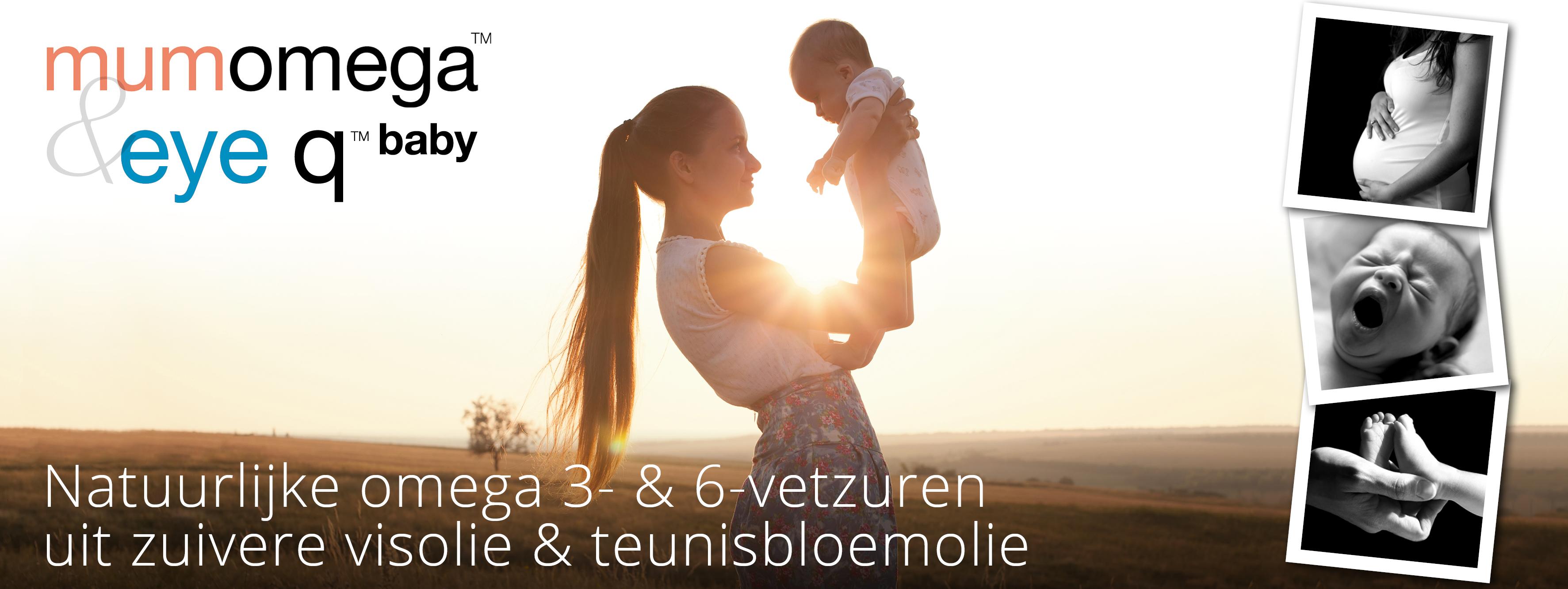 Eye Q baby en MumOmega - Natuurlijke omega 3- en 6-vetzuren uit zuivere visolie en teunisbloemolie