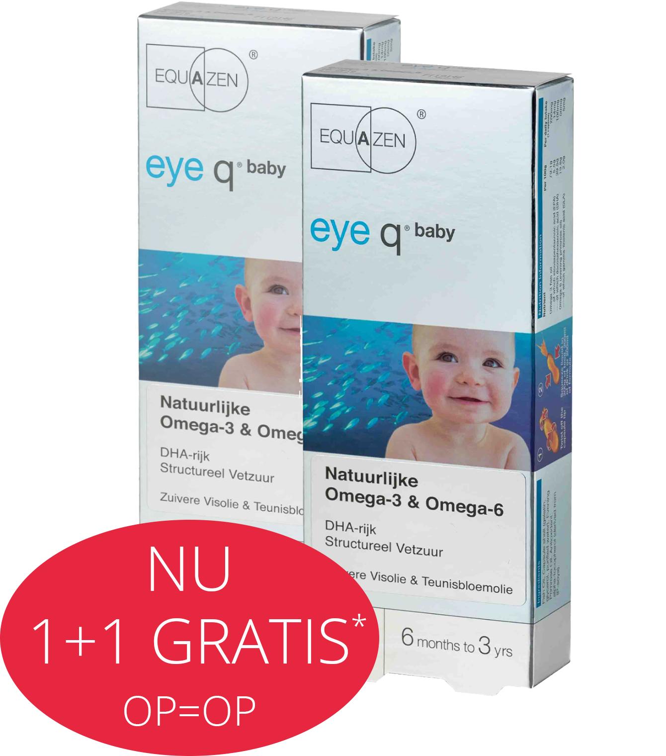 Equazen Baby ampullen - Zuivere DHA-rijke visolie - goed voor de hersenen - 1+1 gratis - rood roze