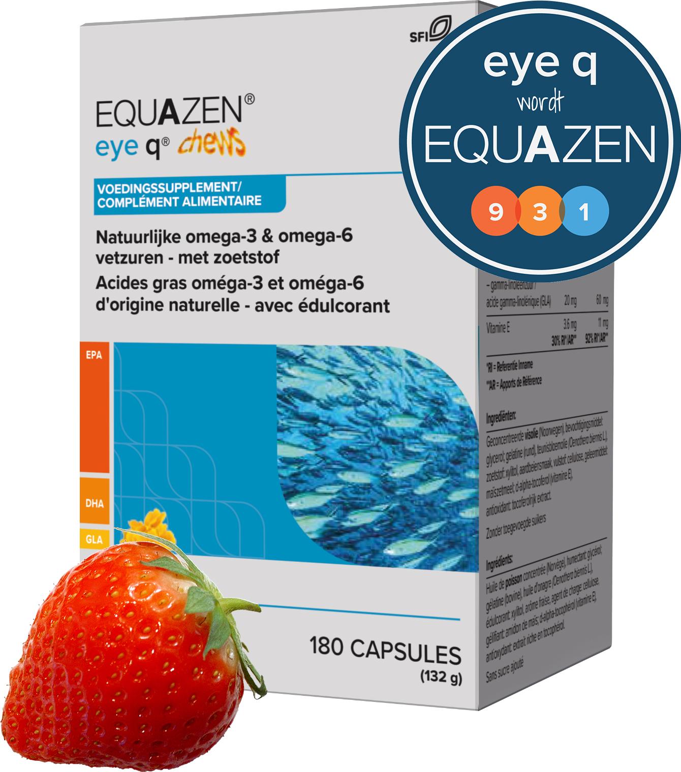 Equazen 9.3.1 Chews - EPA, DHA, GLA - kauwcapsules met aardbeiensmaak - eye q wordt equazen
